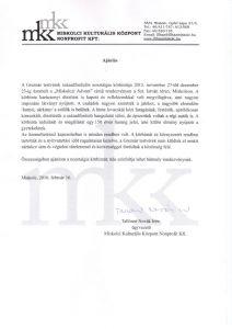 A Miskolci Kulturális Központ ajánlása