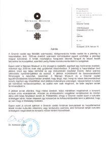 A Néprajzi Múzeum főigazgatójának ajánlása