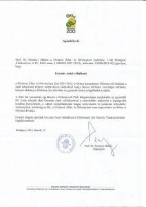 Prof. Dr Persányi Miklós ajánlása
